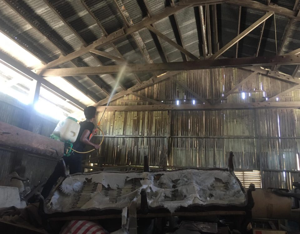 Wooden roof truss drenching for anti-termites