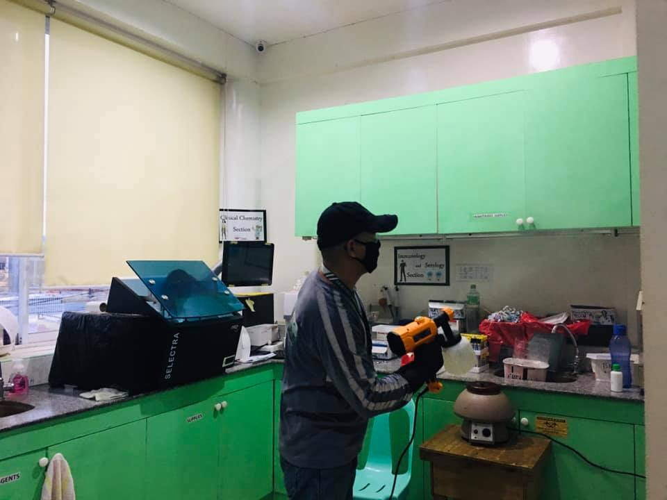 Disinfection Service in a medical laboratory..