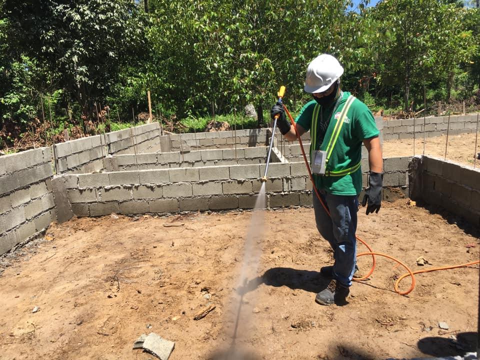 First termiticide application to prevent future termite infestations.  #FarmHous...