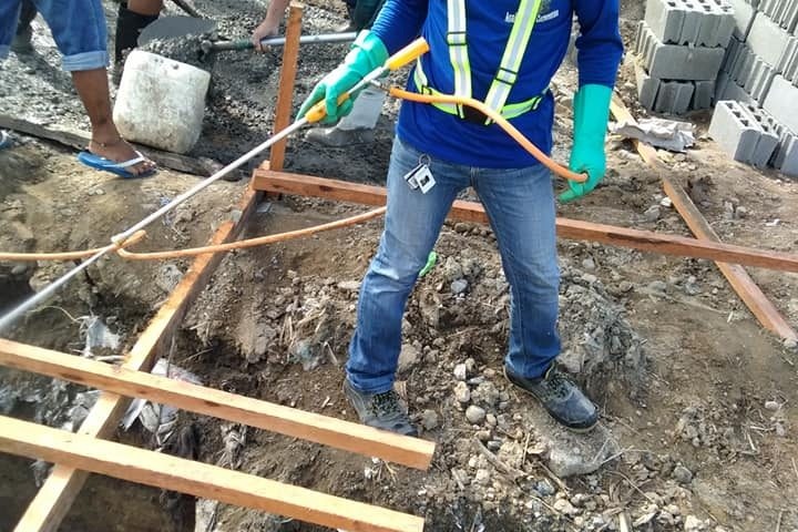 SOIL POISONING BEFORE POURING CEMENT ON TIE BEAM AND FOUNDATIONS.  Thanks to Mr....