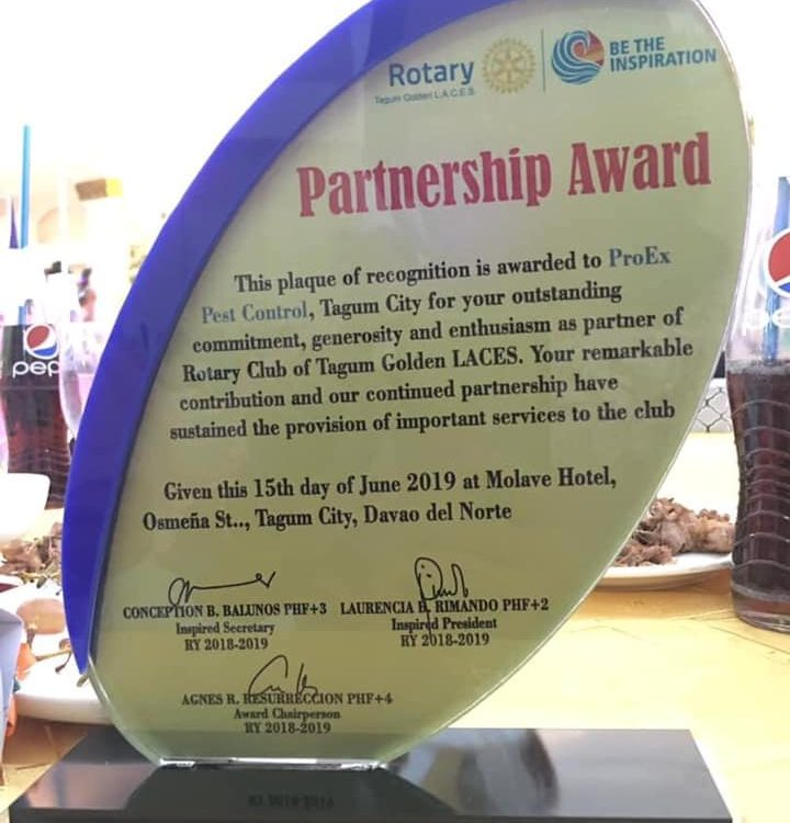 Thank you Rotary Club of Tagum Golden LACES for this partnership award.   #lateu...
