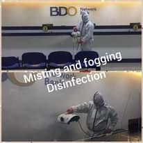 """Ist möglicherweise ein Bild von steht, Innenbereich und Text """"BDO Bank Network and fogging Misting Disinfection"""""""